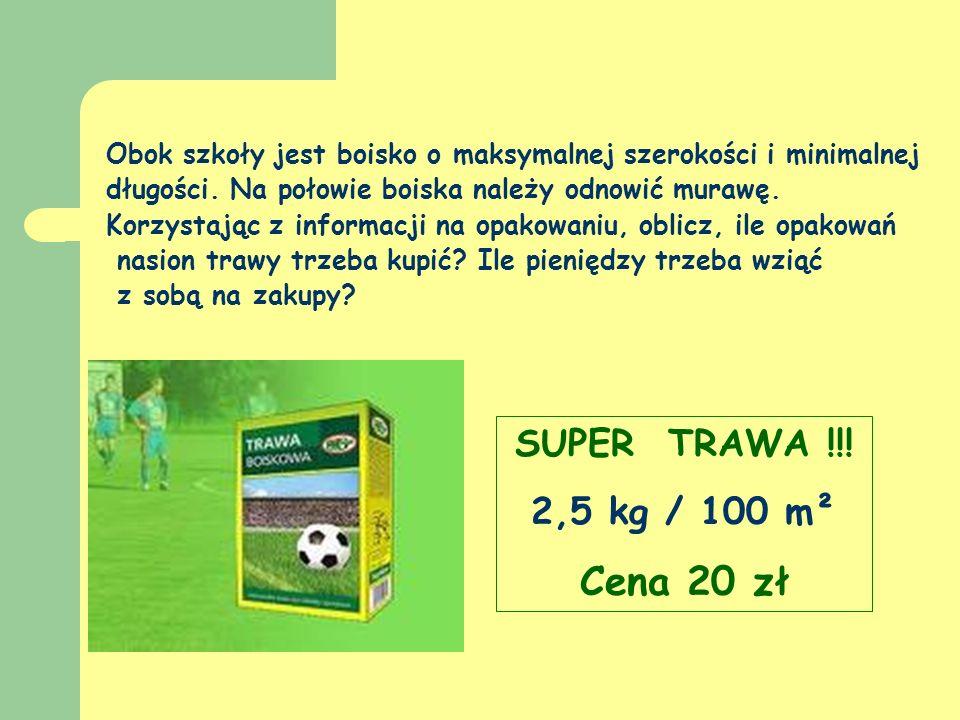 Cena 20 zł SUPER TRAWA !!! 2,5 kg / 100 m²