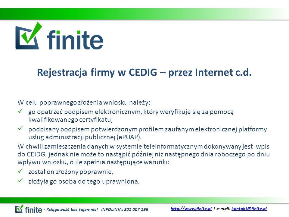 Rejestracja firmy w CEDIG – przez Internet c.d.