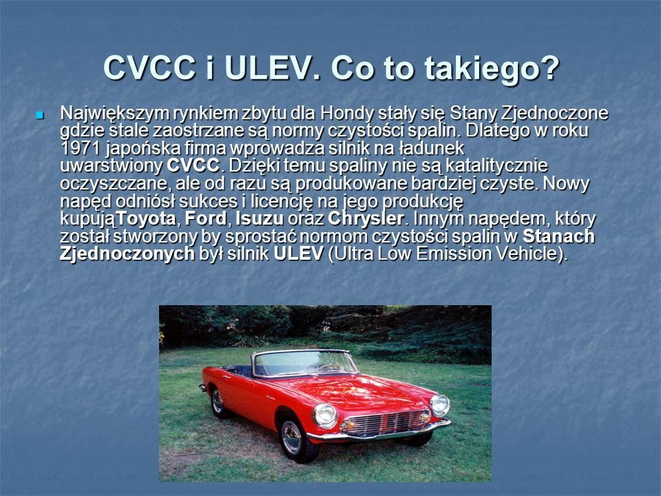 CVCC i ULEV. Co to takiego
