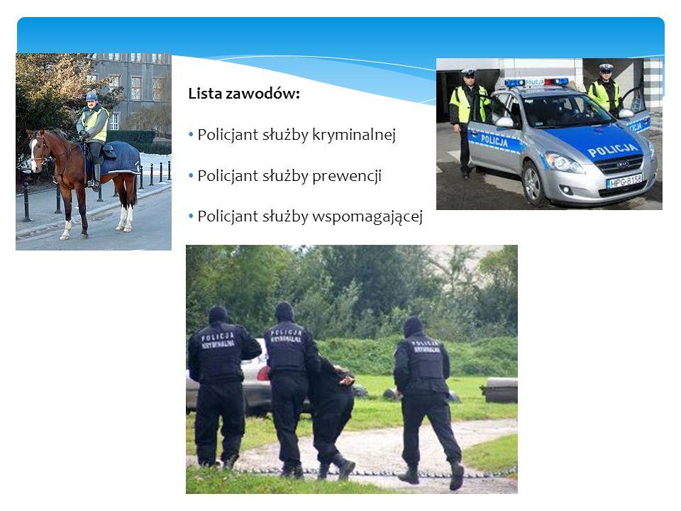 Lista zawodów: Policjant służby kryminalnej. Policjant służby prewencji.
