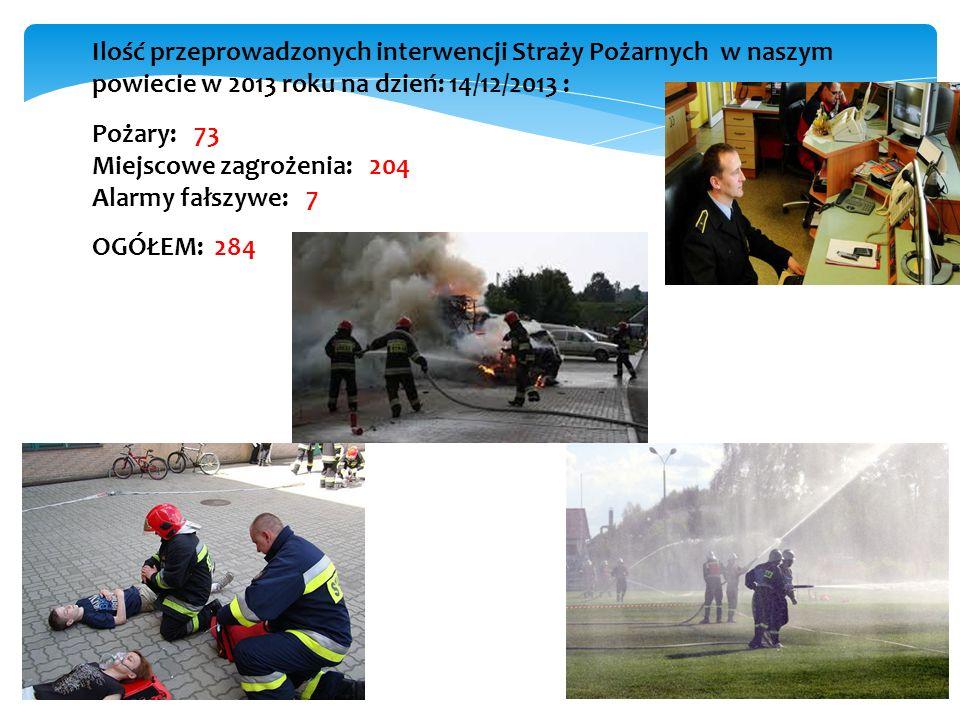 Ilość przeprowadzonych interwencji Straży Pożarnych w naszym powiecie w 2013 roku na dzień: 14/12/2013 :