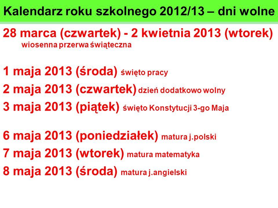 Kalendarz roku szkolnego 2012/13 – dni wolne