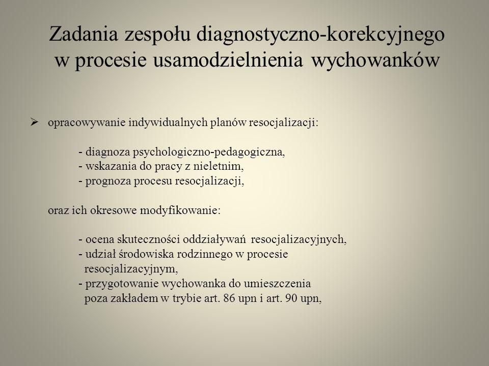 Zadania zespołu diagnostyczno-korekcyjnego w procesie usamodzielnienia wychowanków