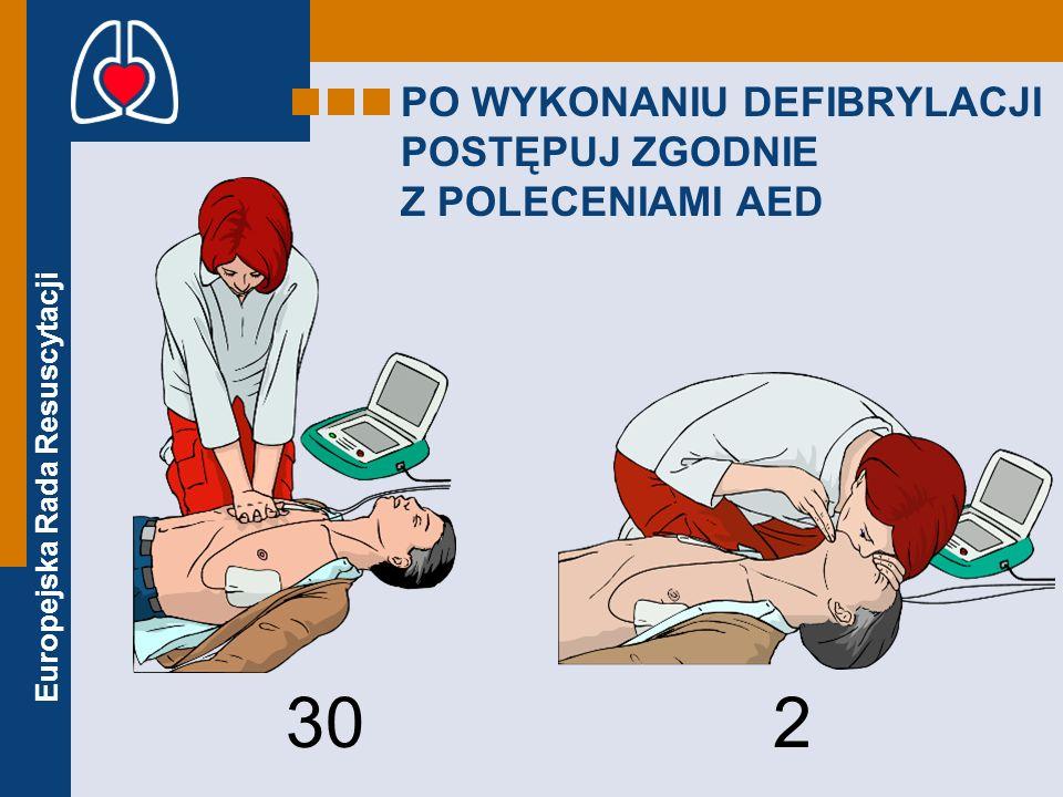 PO WYKONANIU DEFIBRYLACJI POSTĘPUJ ZGODNIE Z POLECENIAMI AED
