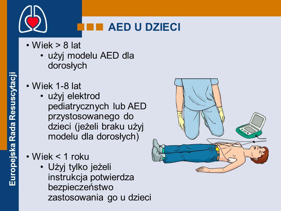 AED U DZIECI Wiek > 8 lat użyj modelu AED dla dorosłych