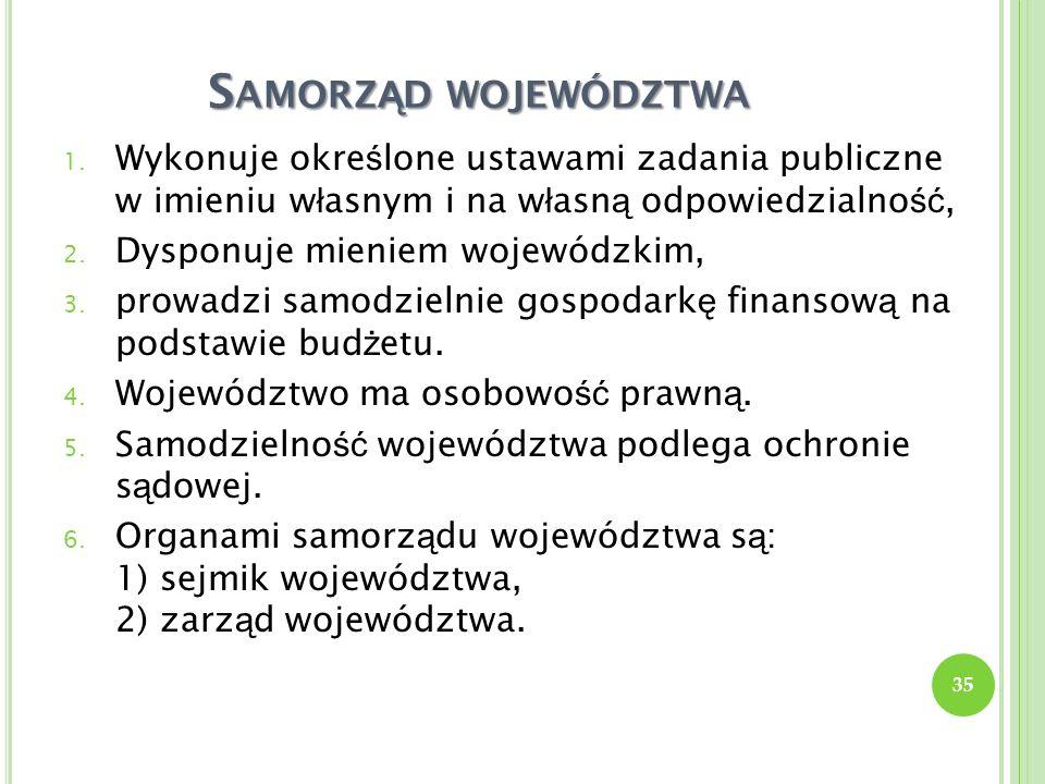 Samorząd województwa Wykonuje określone ustawami zadania publiczne w imieniu własnym i na własną odpowiedzialność,