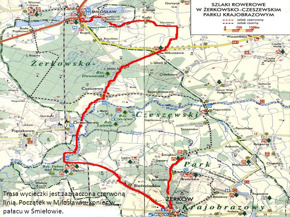 Trasa wycieczki jest zaznaczona czerwoną linią