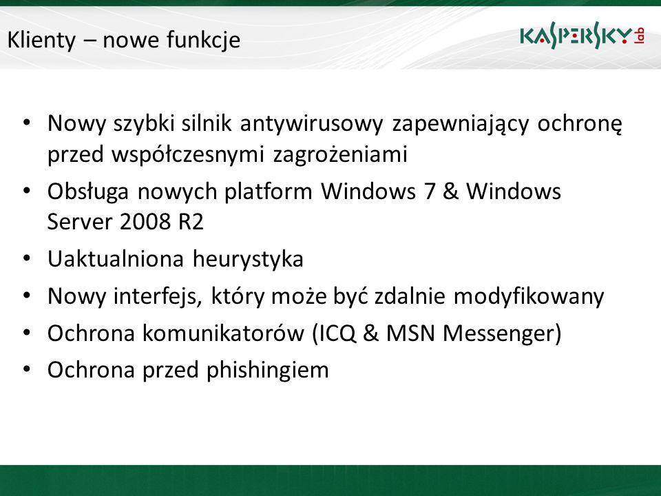 Klienty – nowe funkcje Nowy szybki silnik antywirusowy zapewniający ochronę przed współczesnymi zagrożeniami.
