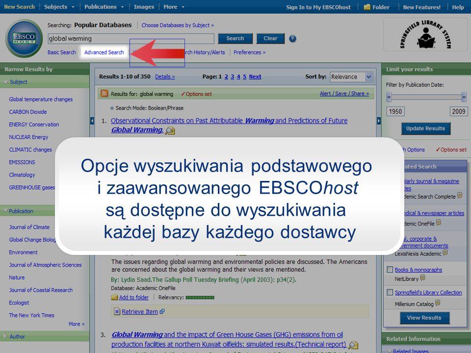 Opcje wyszukiwania podstawowego i zaawansowanego EBSCOhost