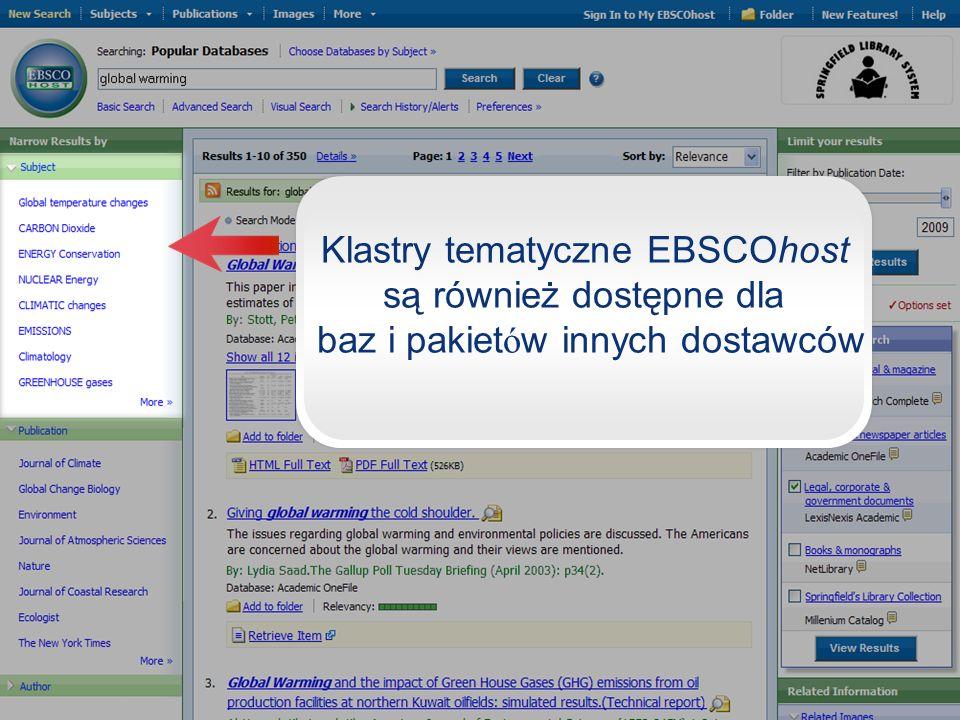 Klastry tematyczne EBSCOhost są również dostępne dla baz i pakietów innych dostawców