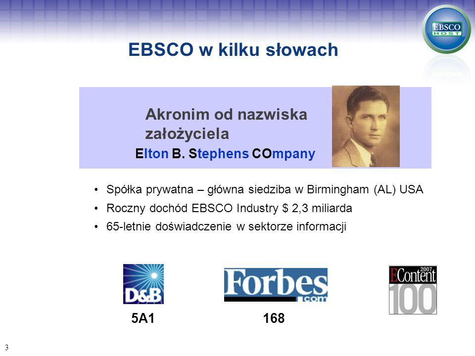 EBSCO w kilku słowach Akronim od nazwiska założyciela