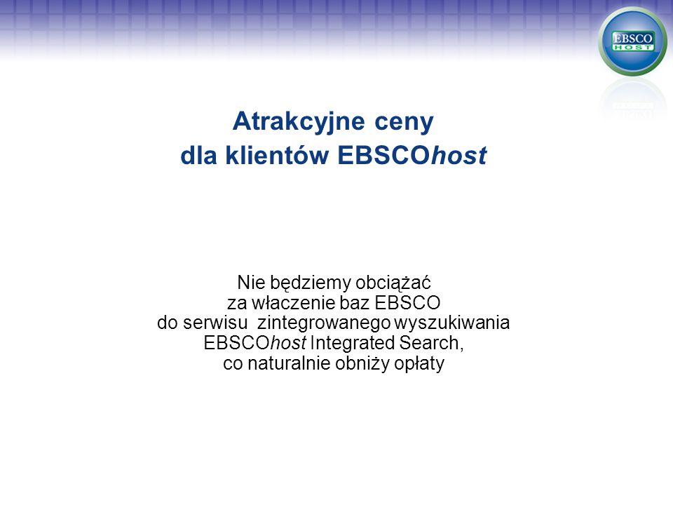 Atrakcyjne ceny dla klientów EBSCOhost