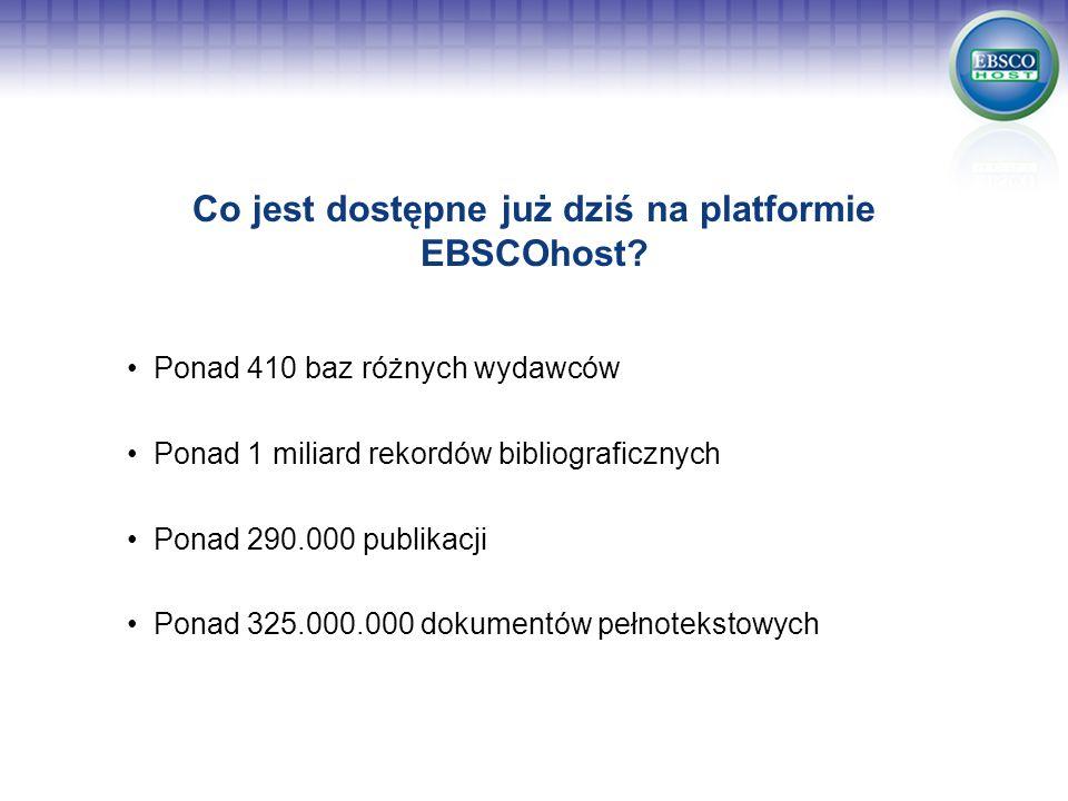Co jest dostępne już dziś na platformie EBSCOhost