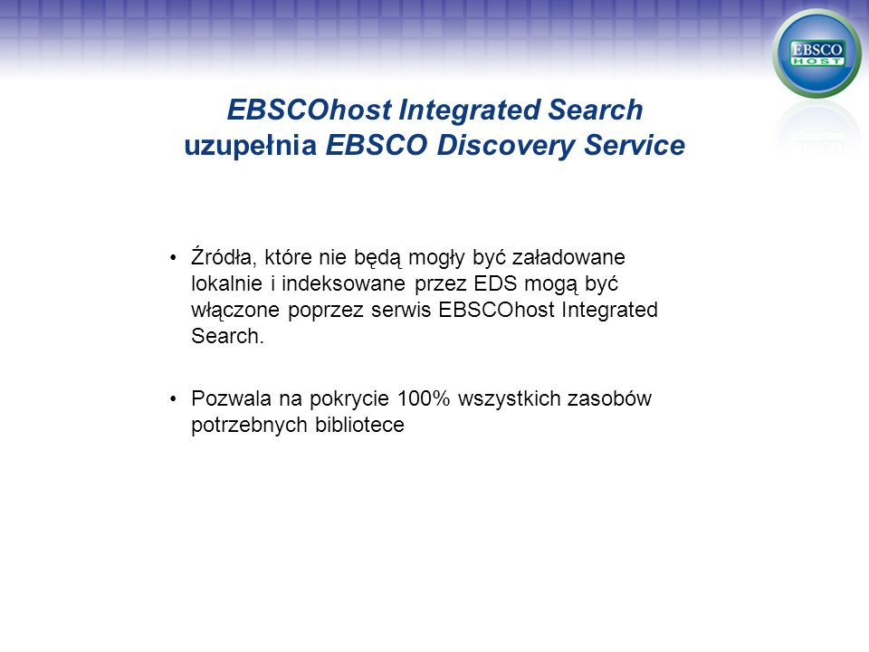 EBSCOhost Integrated Search uzupełnia EBSCO Discovery Service