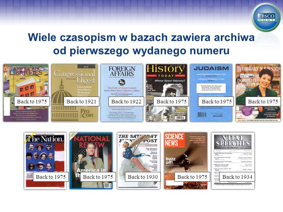 Wiele czasopism w bazach zawiera archiwa od pierwszego wydanego numeru