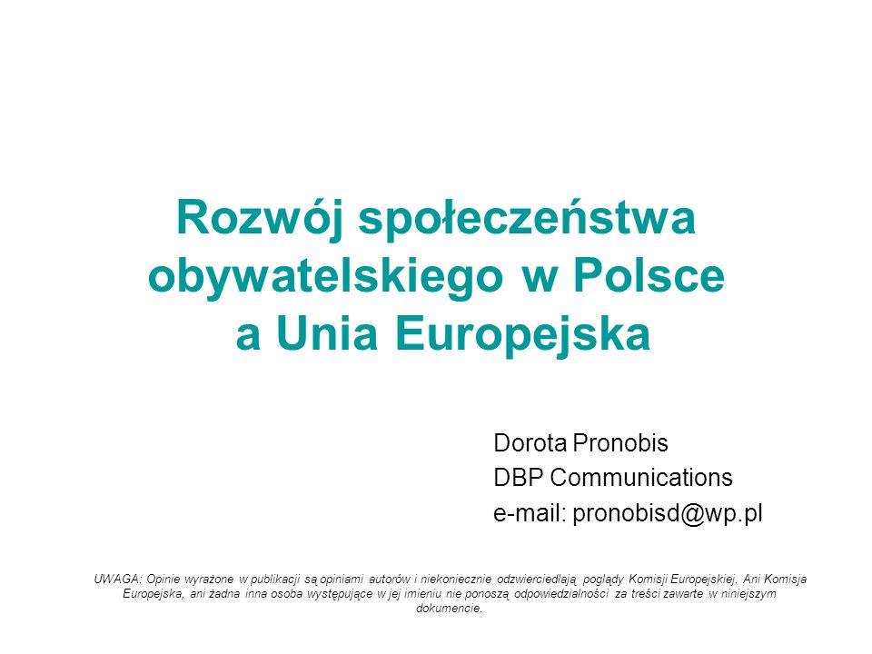 Rozwój społeczeństwa obywatelskiego w Polsce a Unia Europejska