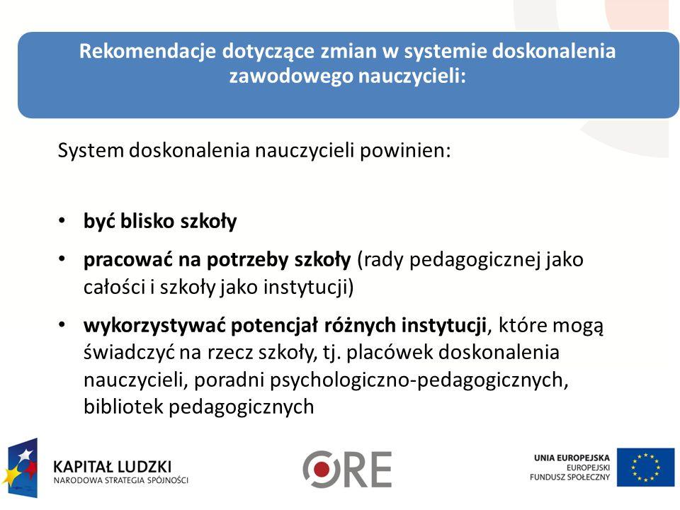 Rekomendacje dotyczące zmian w systemie doskonalenia zawodowego nauczycieli: