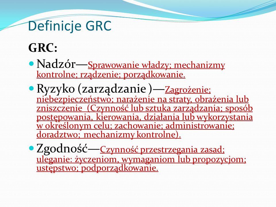 Definicje GRC GRC: Nadzór—Sprawowanie władzy; mechanizmy kontrolne; rządzenie; porządkowanie.