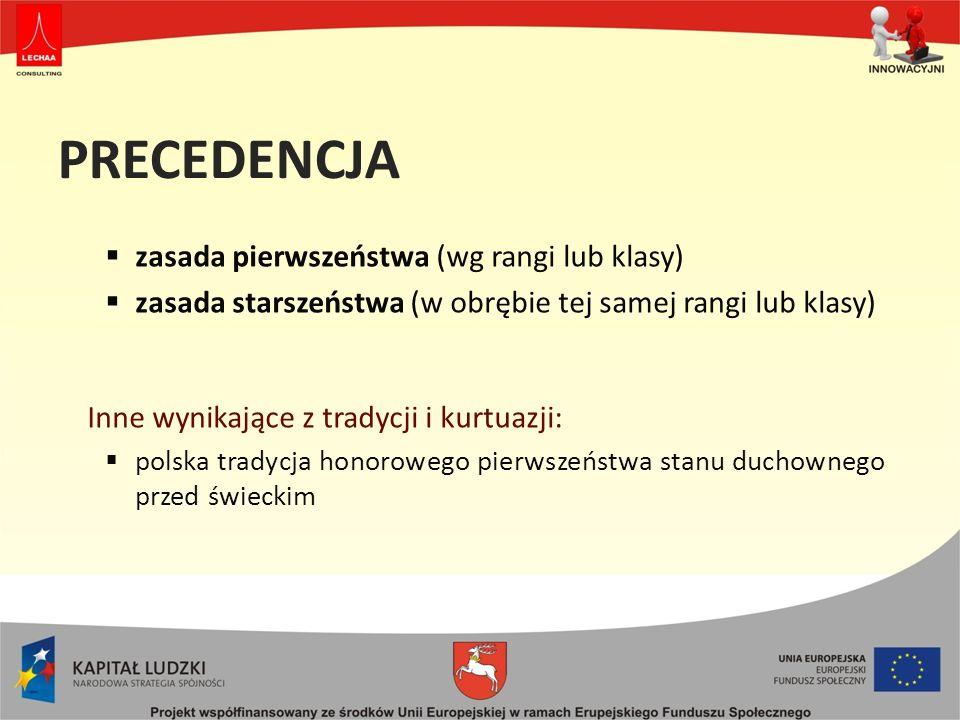 PRECEDENCJA zasada pierwszeństwa (wg rangi lub klasy)