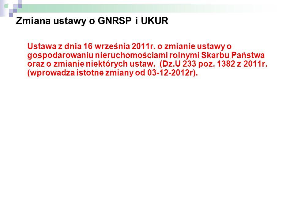 Zmiana ustawy o GNRSP i UKUR