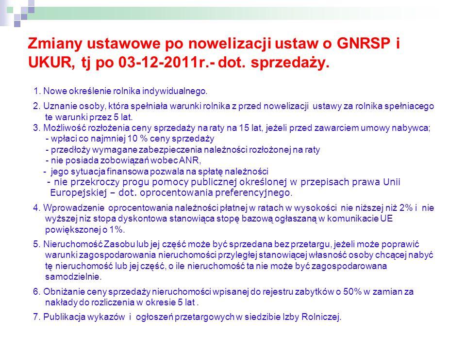 Zmiany ustawowe po nowelizacji ustaw o GNRSP i UKUR, tj po 03-12-2011r