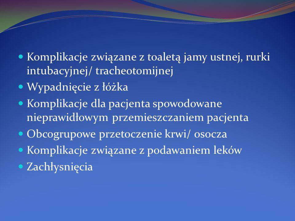 Komplikacje związane z toaletą jamy ustnej, rurki intubacyjnej/ tracheotomijnej