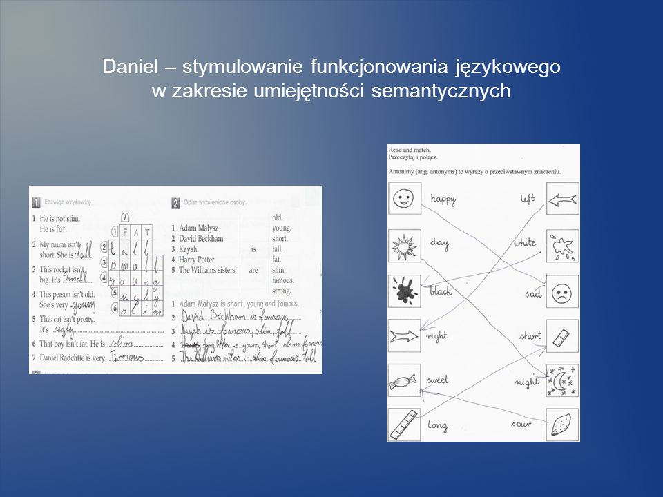 Daniel – stymulowanie funkcjonowania językowego w zakresie umiejętności semantycznych