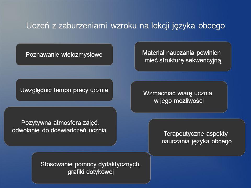Uczeń z zaburzeniami wzroku na lekcji języka obcego