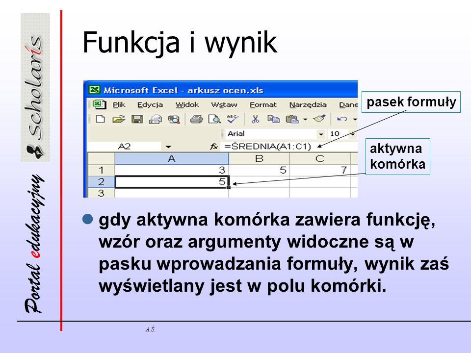 Funkcja i wynik pasek formuły. aktywna. komórka.