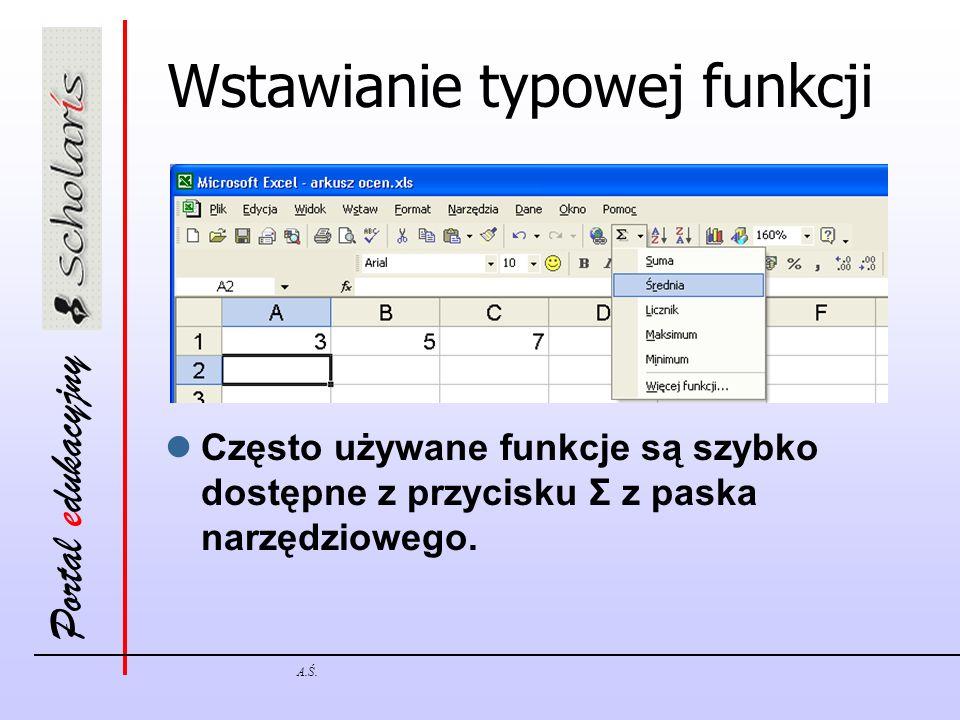 Wstawianie typowej funkcji