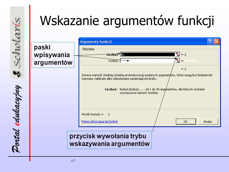 Wskazanie argumentów funkcji