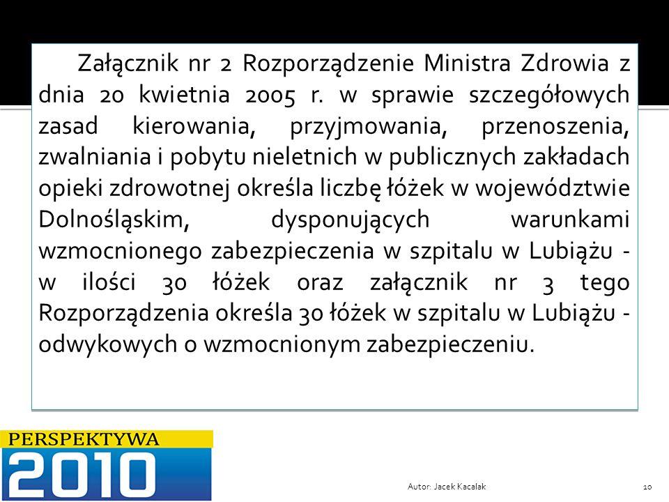 Załącznik nr 2 Rozporządzenie Ministra Zdrowia z dnia 20 kwietnia 2005 r. w sprawie szczegółowych zasad kierowania, przyjmowania, przenoszenia, zwalniania i pobytu nieletnich w publicznych zakładach opieki zdrowotnej określa liczbę łóżek w województwie Dolnośląskim, dysponujących warunkami wzmocnionego zabezpieczenia w szpitalu w Lubiążu - w ilości 30 łóżek oraz załącznik nr 3 tego Rozporządzenia określa 30 łóżek w szpitalu w Lubiążu -odwykowych o wzmocnionym zabezpieczeniu.