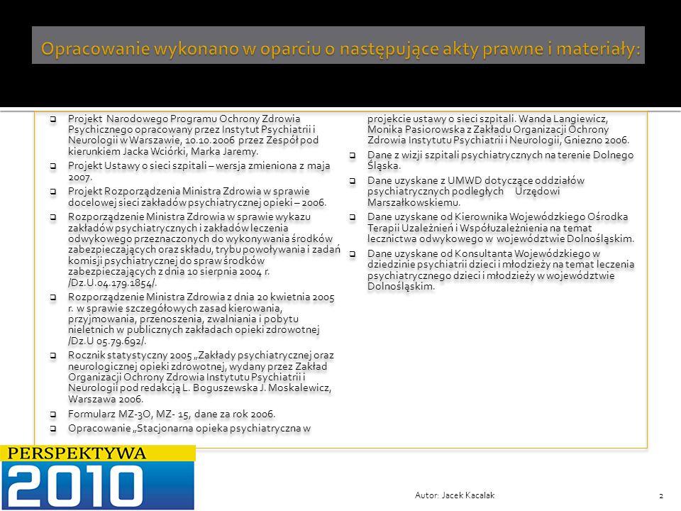 Opracowanie wykonano w oparciu o następujące akty prawne i materiały: