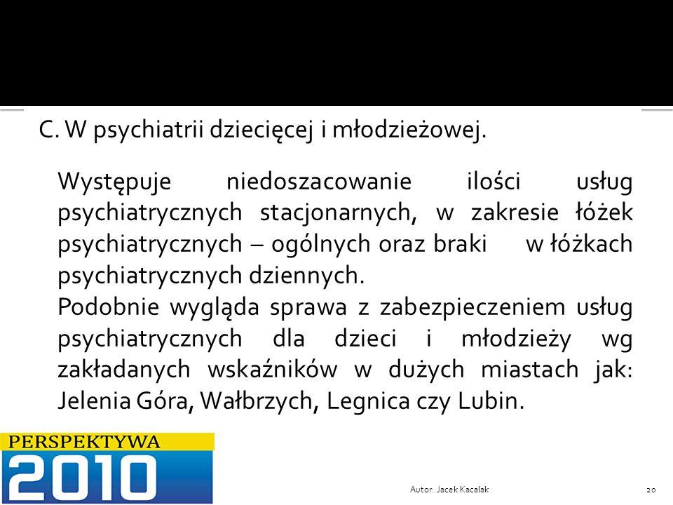 C. W psychiatrii dziecięcej i młodzieżowej.