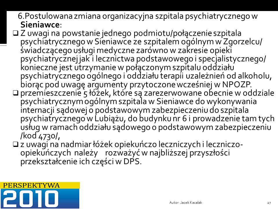 6.Postulowana zmiana organizacyjna szpitala psychiatrycznego w Sieniawce: