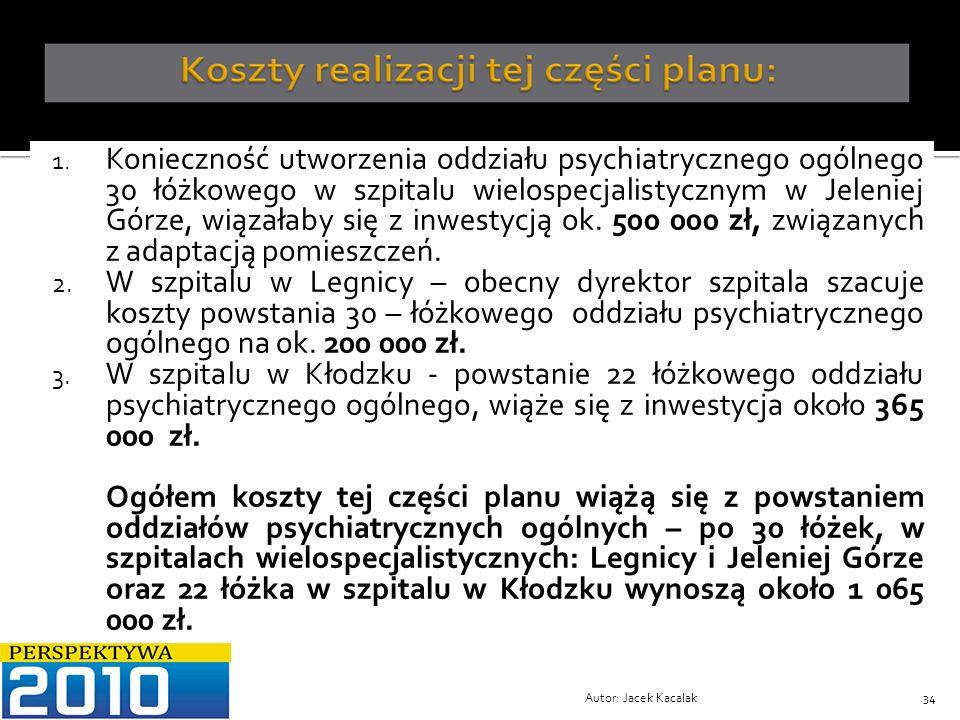 Konieczność utworzenia oddziału psychiatrycznego ogólnego 30 łóżkowego w szpitalu wielospecjalistycznym w Jeleniej Górze, wiązałaby się z inwestycją ok. 500 000 zł, związanych z adaptacją pomieszczeń.