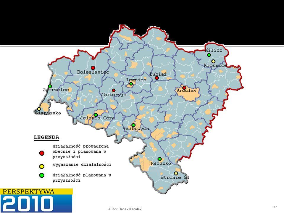 Rysunek 2 Mapa Województwa Dolnośląskiego z naniesionymi propozycjami zmian