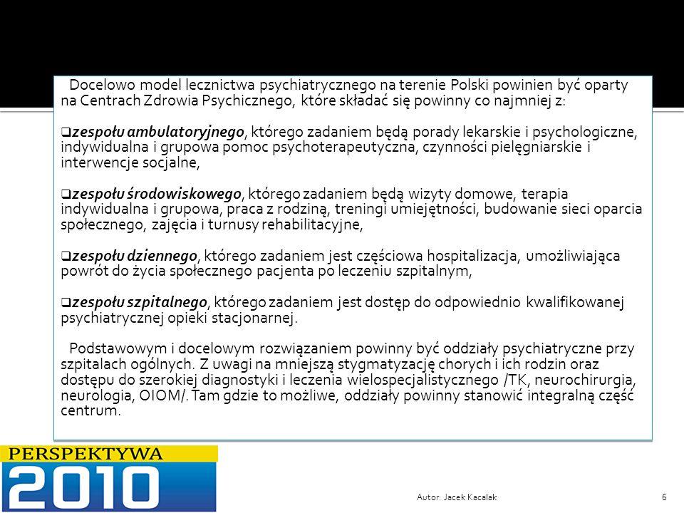 Docelowo model lecznictwa psychiatrycznego na terenie Polski powinien być oparty na Centrach Zdrowia Psychicznego, które składać się powinny co najmniej z: