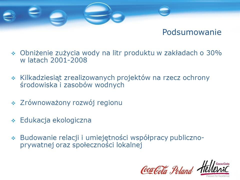 Podsumowanie Obniżenie zużycia wody na litr produktu w zakładach o 30% w latach 2001-2008.