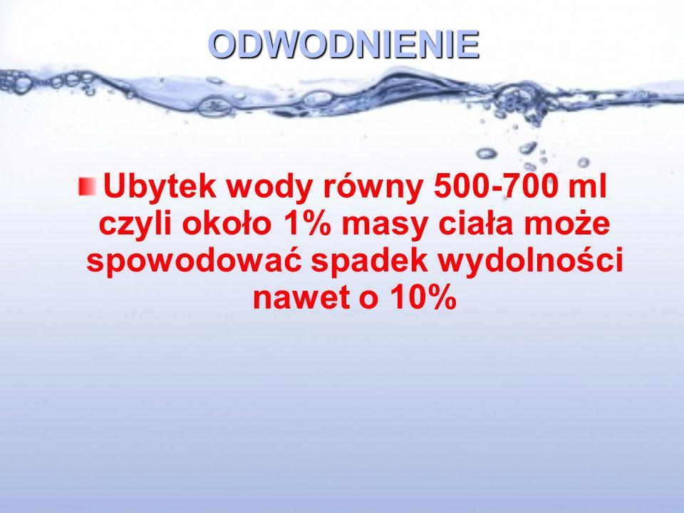 ODWODNIENIE Ubytek wody równy 500-700 ml czyli około 1% masy ciała może spowodować spadek wydolności nawet o 10%