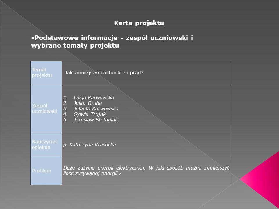Podstawowe informacje - zespół uczniowski i wybrane tematy projektu