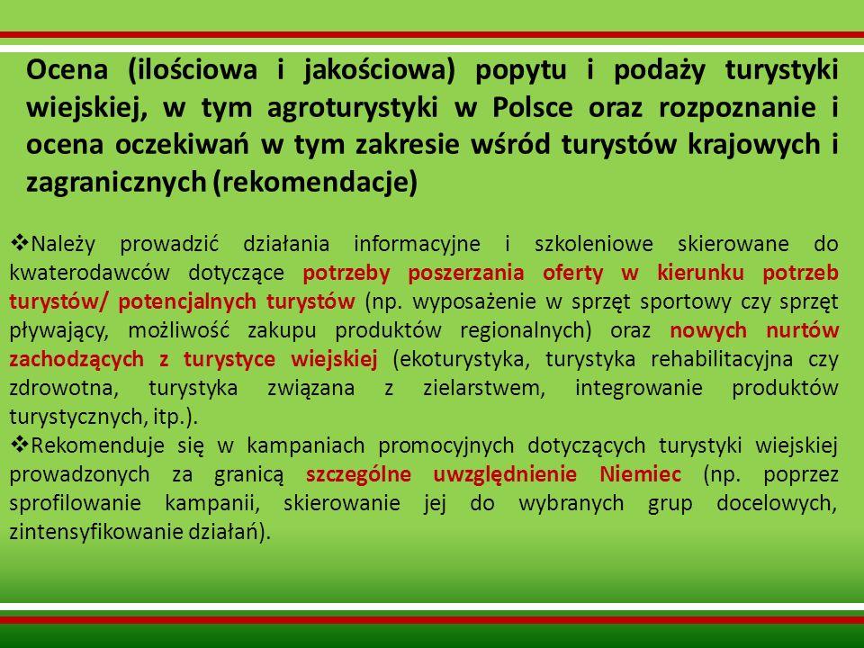 Ocena (ilościowa i jakościowa) popytu i podaży turystyki wiejskiej, w tym agroturystyki w Polsce oraz rozpoznanie i ocena oczekiwań w tym zakresie wśród turystów krajowych i zagranicznych (rekomendacje)