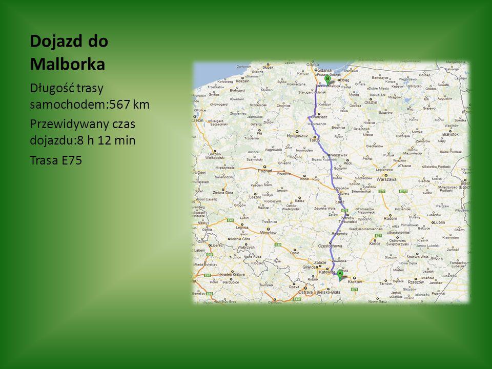 Dojazd do Malborka Długość trasy samochodem:567 km