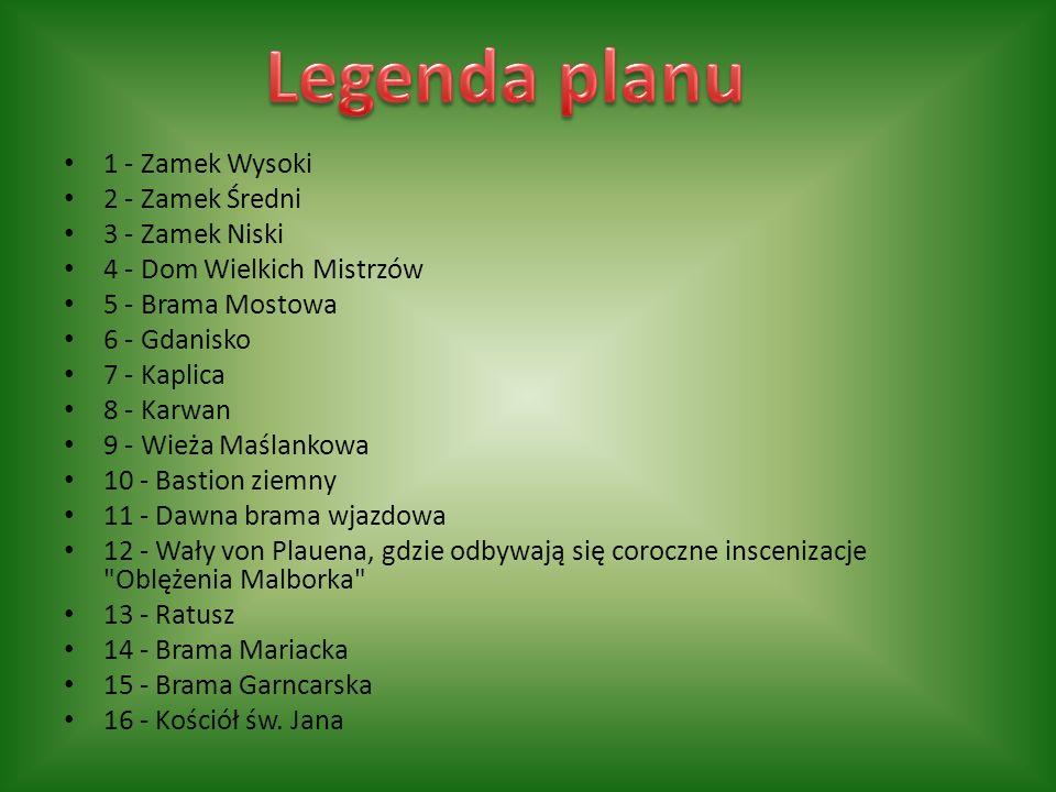 Legenda planu 1 - Zamek Wysoki 2 - Zamek Średni 3 - Zamek Niski