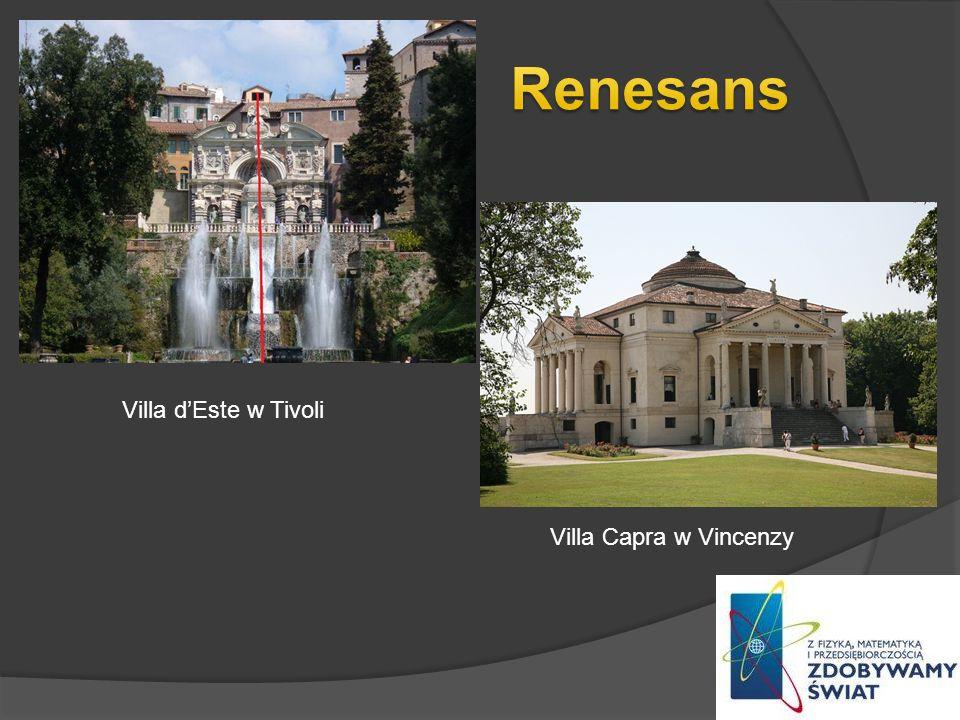 Renesans Villa d'Este w Tivoli Villa Capra w Vincenzy