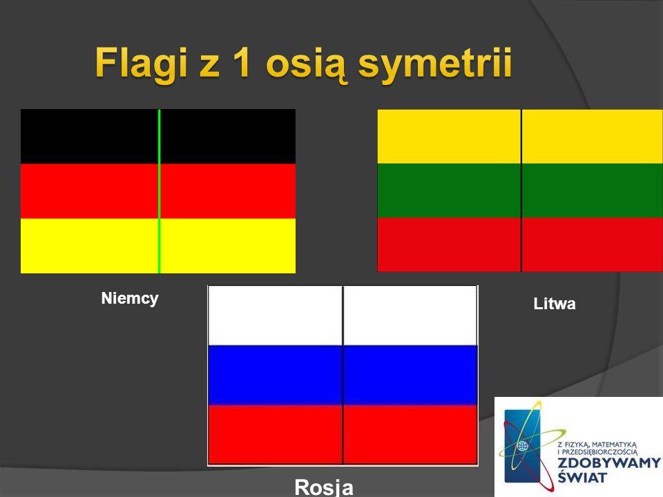 Flagi z 1 osią symetrii Niemcy Litwa Rosja