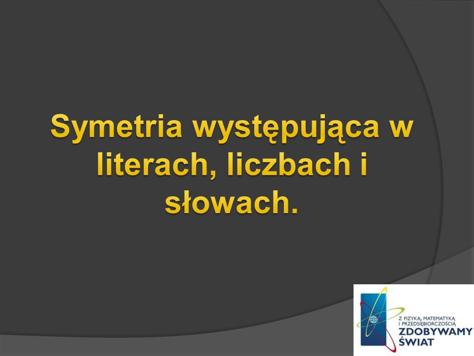 Symetria występująca w literach, liczbach i słowach.