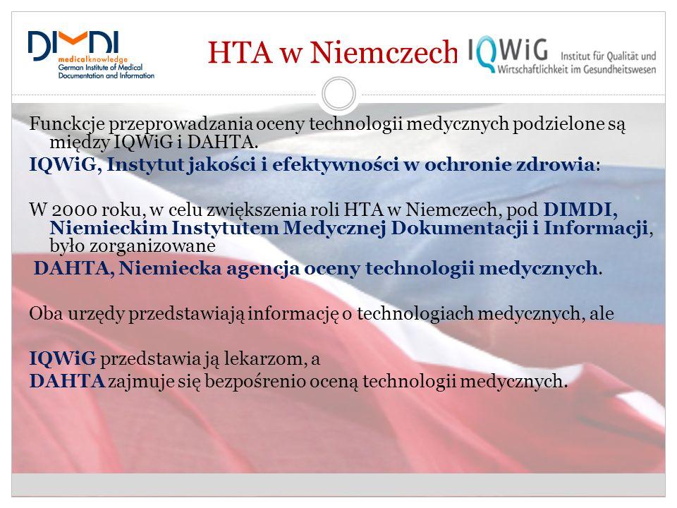 HTA w Niemczech. Funckcje przeprowadzania oceny technologii medycznych podzielone są między IQWiG i DAHTA.