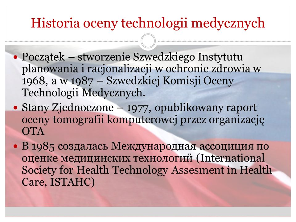 Historia oceny technologii medycznych