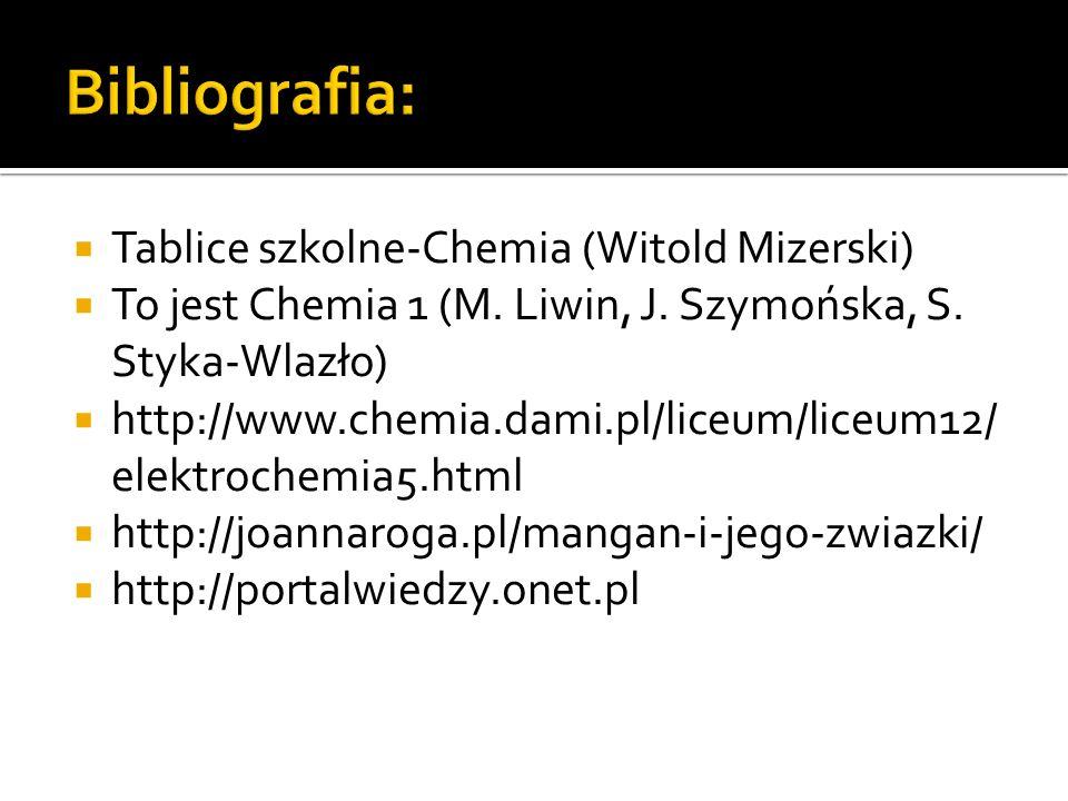 Bibliografia: Tablice szkolne-Chemia (Witold Mizerski)